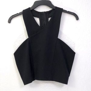 Express NWT Crossover T Back Zip Up Crop Top